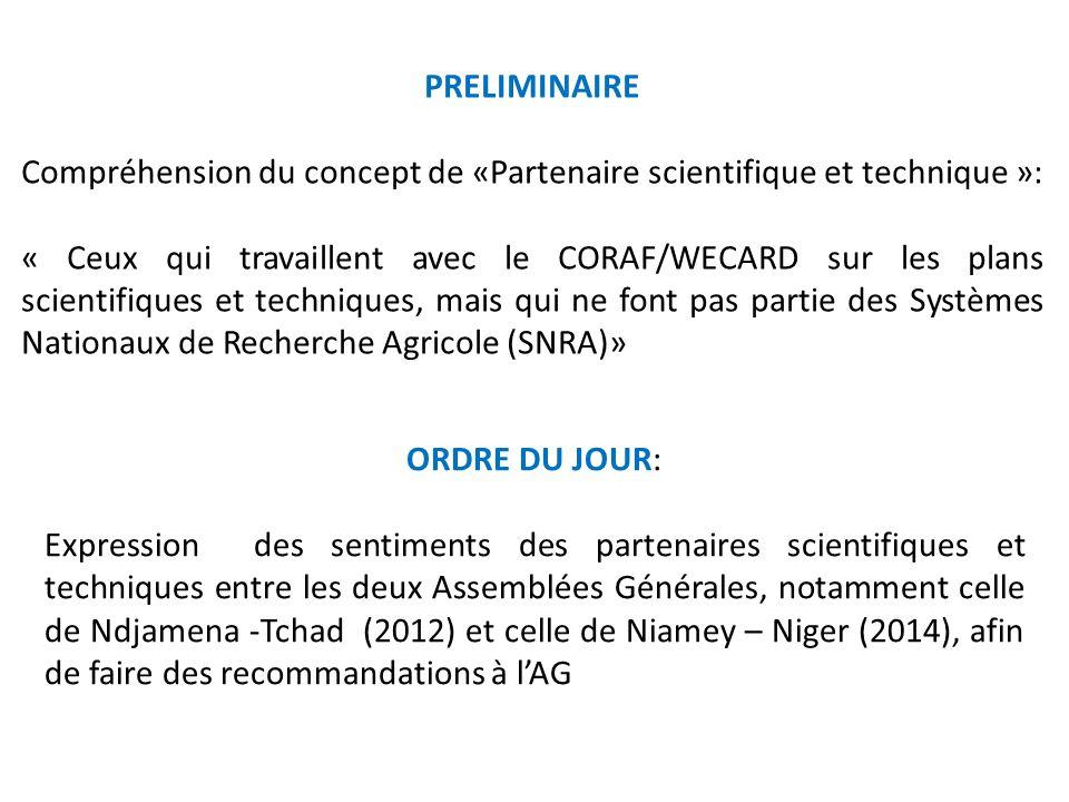 PRELIMINAIRE Compréhension du concept de «Partenaire scientifique et technique »: