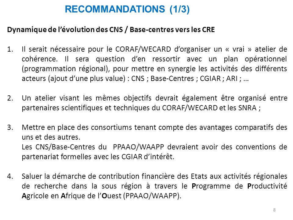 RECOMMANDATIONS (1/3) Dynamique de l'évolution des CNS / Base-centres vers les CRE.
