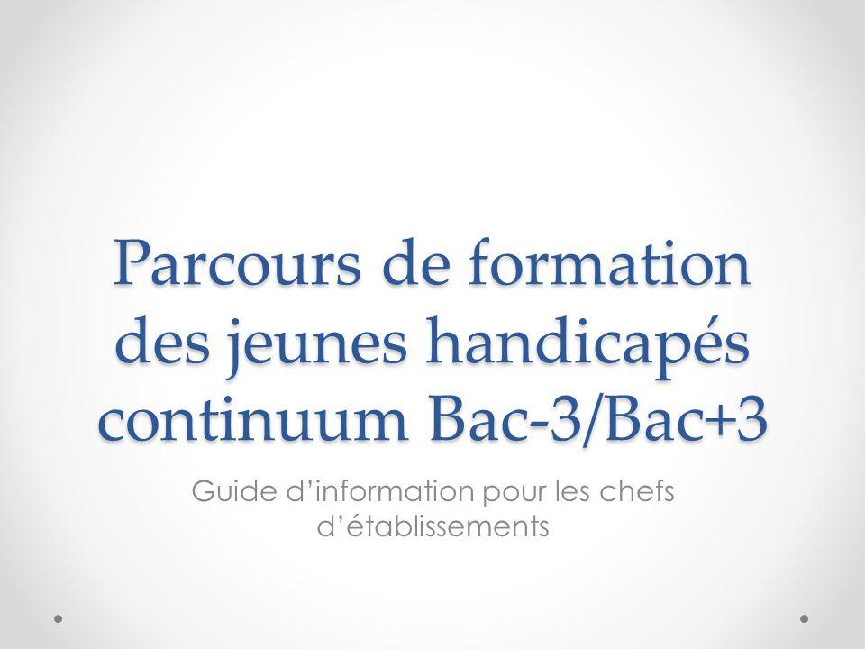 Parcours de formation des jeunes handicapés continuum Bac-3/Bac+3