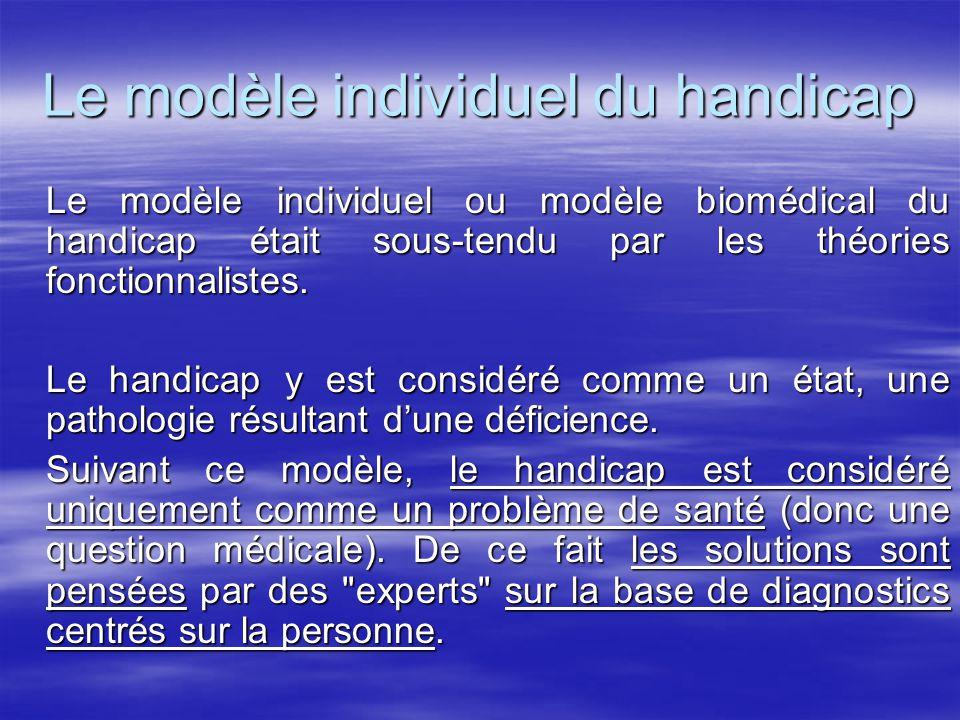 Le modèle individuel du handicap