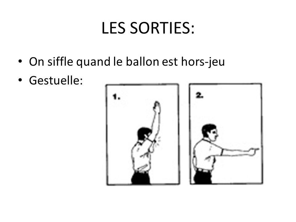 LES SORTIES: On siffle quand le ballon est hors-jeu Gestuelle: