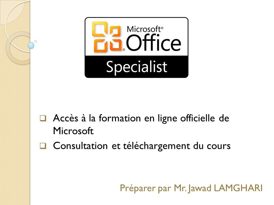 Accès à la formation en ligne officielle de Microsoft