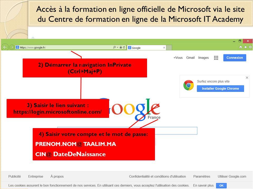 Accès à la formation en ligne officielle de Microsoft via le site du Centre de formation en ligne de la Microsoft IT Academy