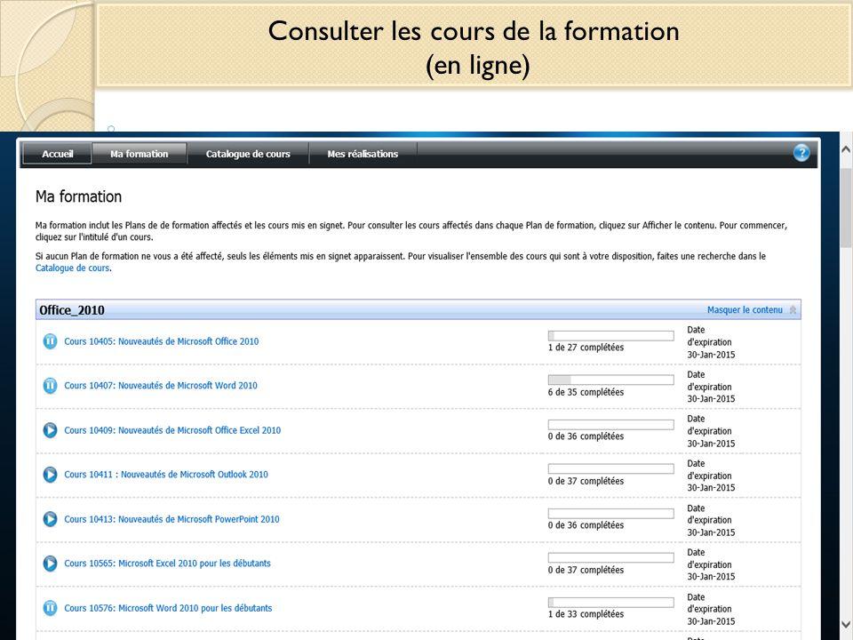 Consulter les cours de la formation (en ligne)