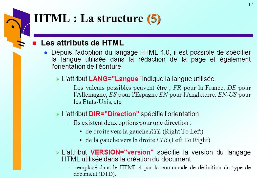 HTML : La structure (5) Les attributs de HTML