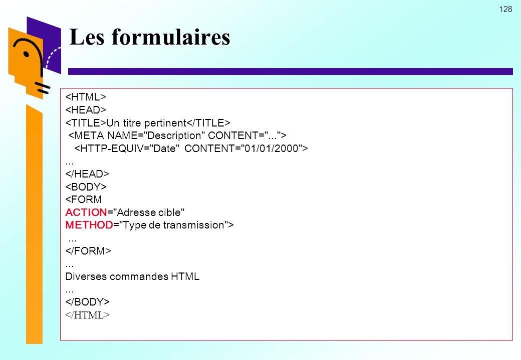 Les formulaires <HTML> <HEAD>