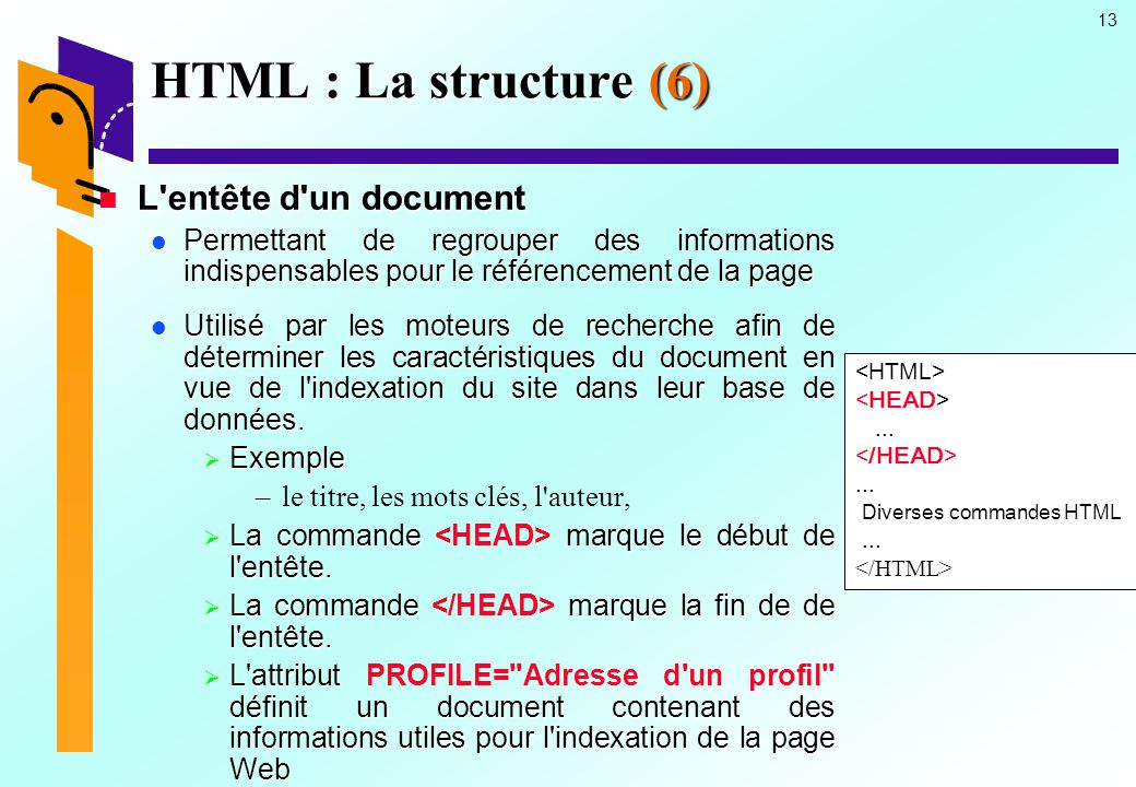 HTML : La structure (6) L entête d un document