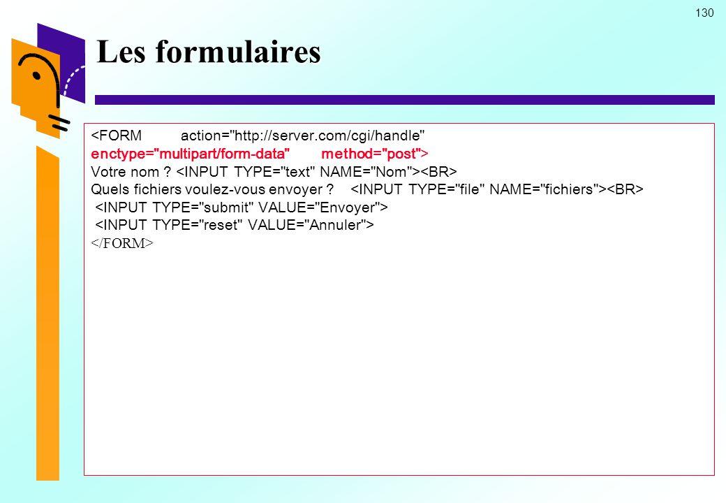 Les formulaires <FORM action= http://server.com/cgi/handle