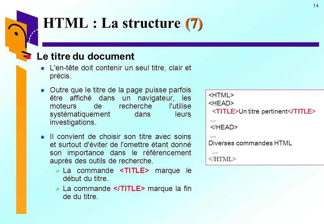 HTML : La structure (7) Le titre du document