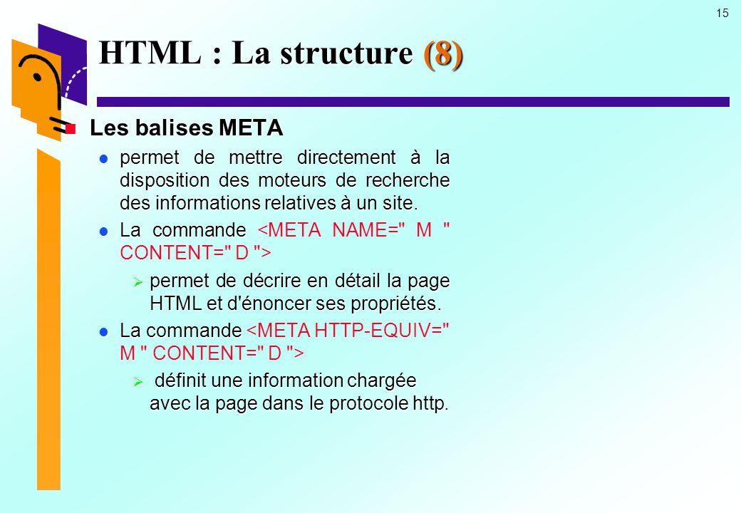 HTML : La structure (8) Les balises META