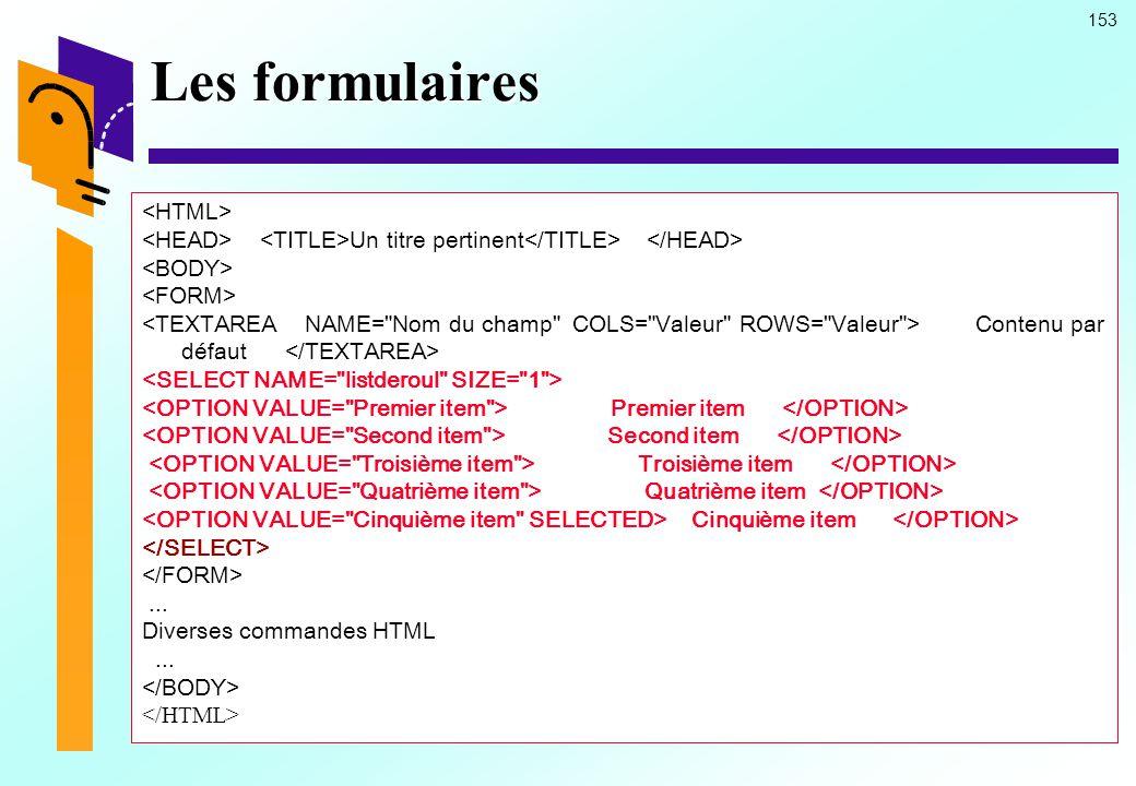 Les formulaires <HTML>