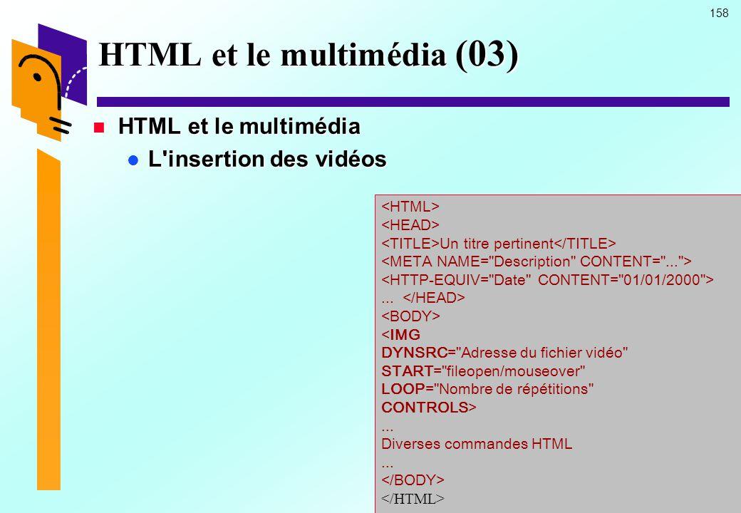 HTML et le multimédia (03)