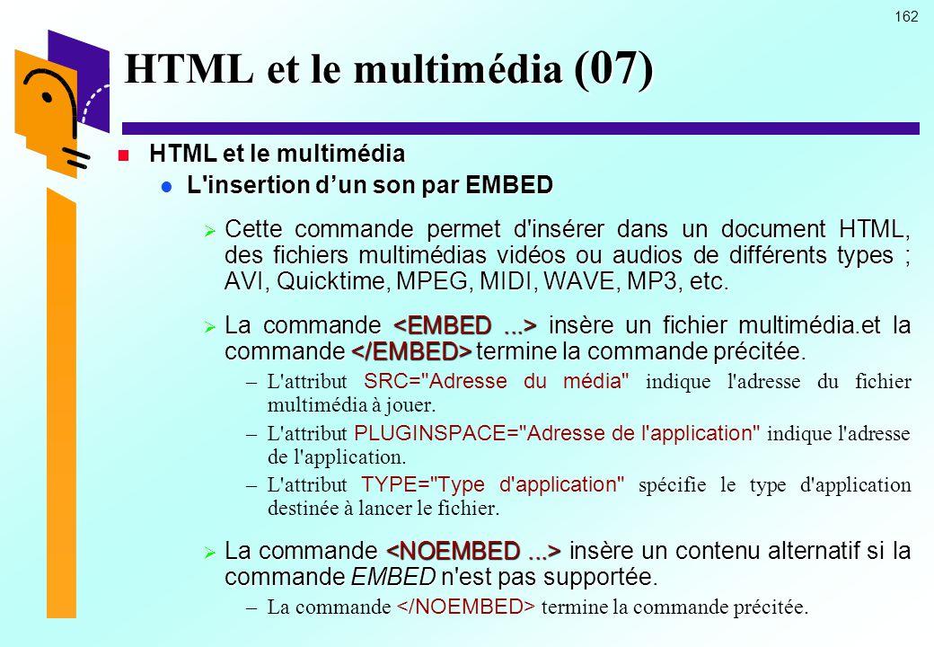 HTML et le multimédia (07)