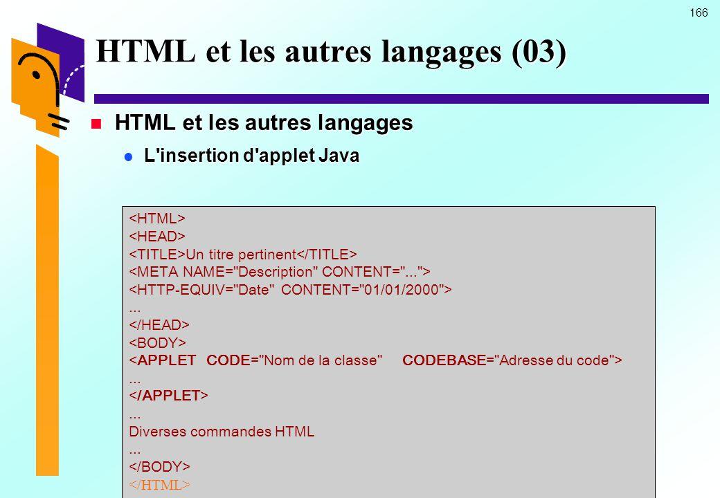HTML et les autres langages (03)