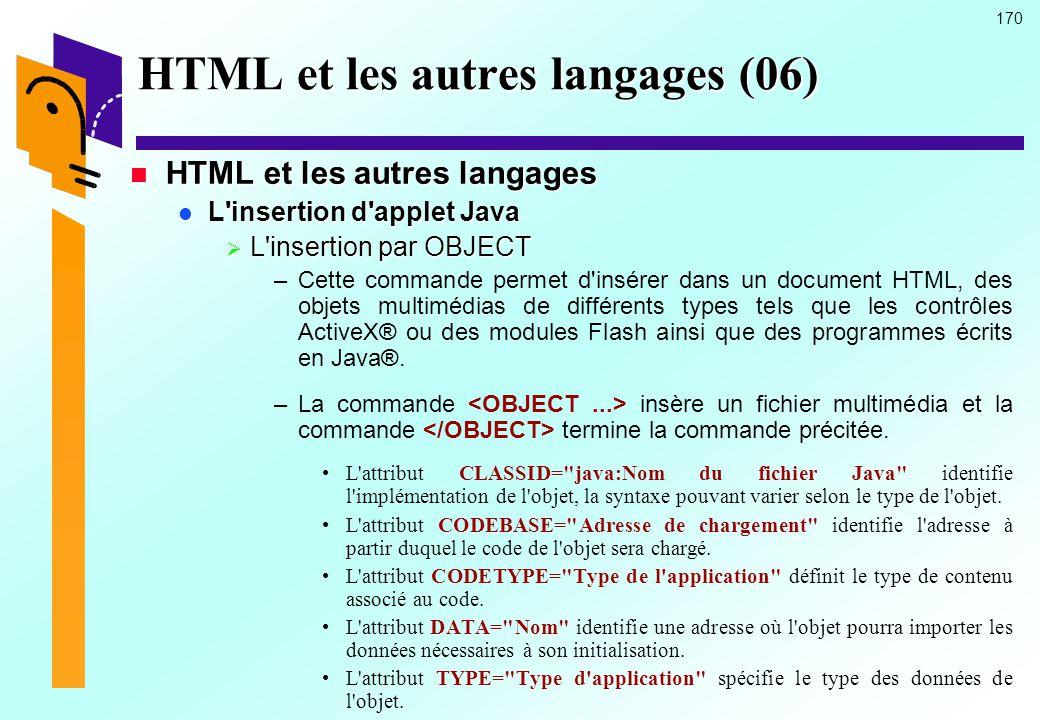 HTML et les autres langages (06)