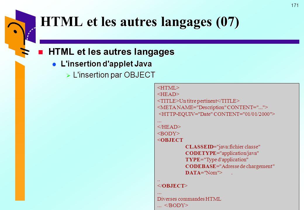 HTML et les autres langages (07)