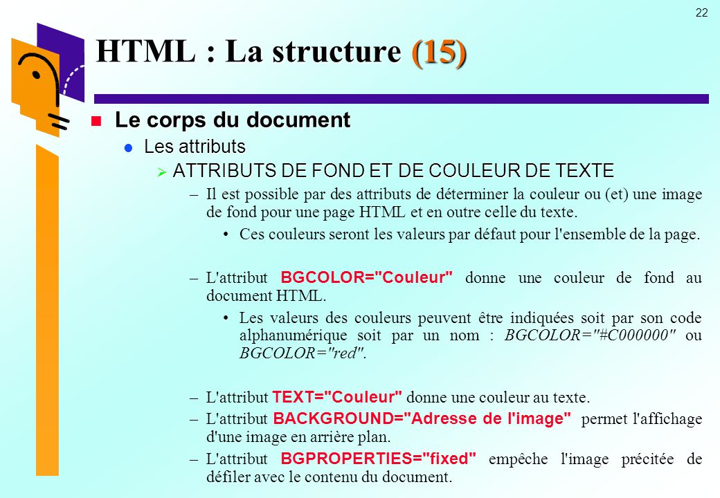 HTML : La structure (15) Le corps du document Les attributs