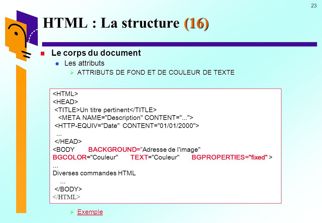 HTML : La structure (16) Le corps du document Les attributs