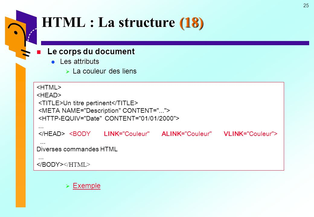 HTML : La structure (18) Le corps du document Les attributs