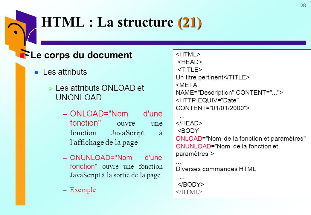 HTML : La structure (21) Le corps du document Les attributs