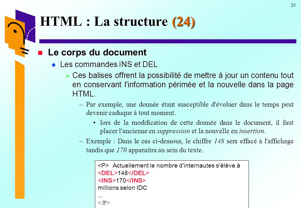 HTML : La structure (24) Le corps du document Les commandes INS et DEL