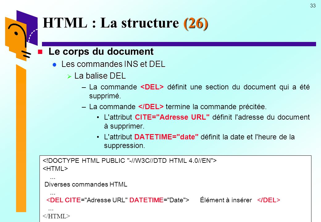 HTML : La structure (26) Le corps du document Les commandes INS et DEL
