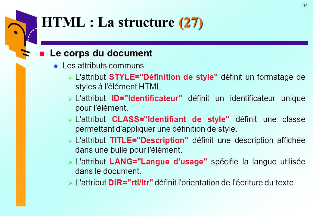 HTML : La structure (27) Le corps du document Les attributs communs