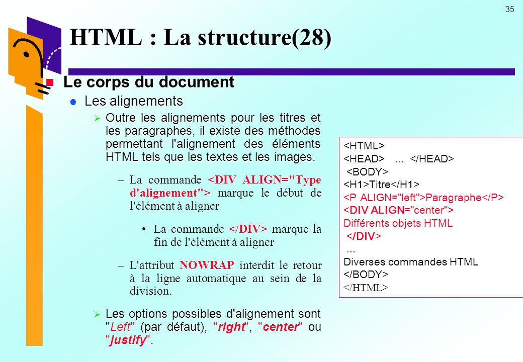 HTML : La structure(28) Le corps du document Les alignements