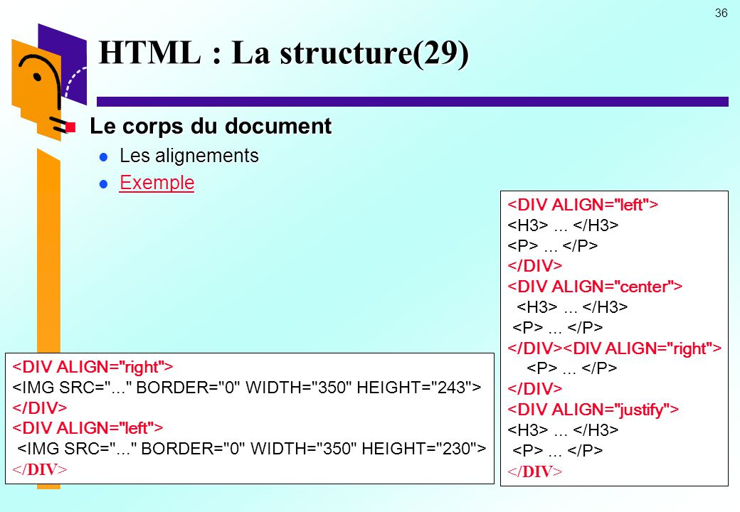 HTML : La structure(29) Le corps du document Les alignements Exemple