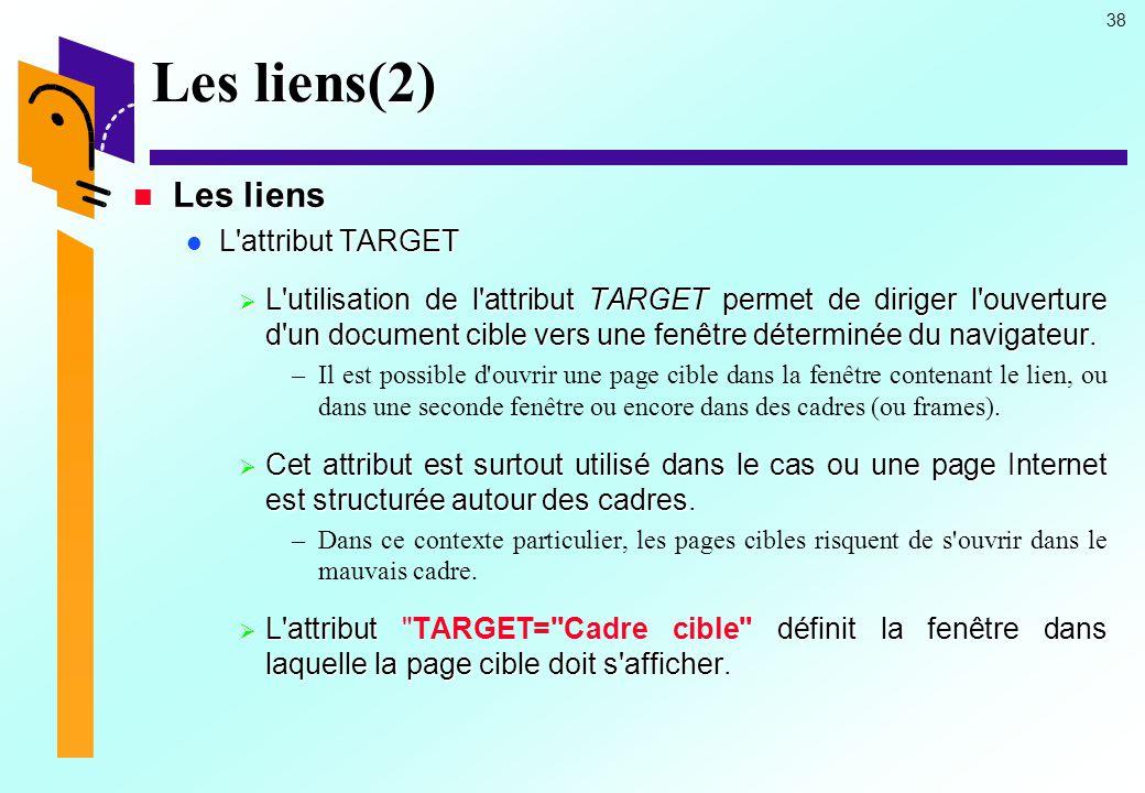 Les liens(2) Les liens. L attribut TARGET.
