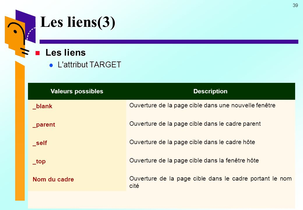 Les liens(3) Les liens L attribut TARGET Valeurs possibles Description