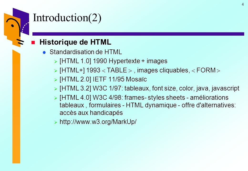 Introduction(2) Historique de HTML Standardisation de HTML