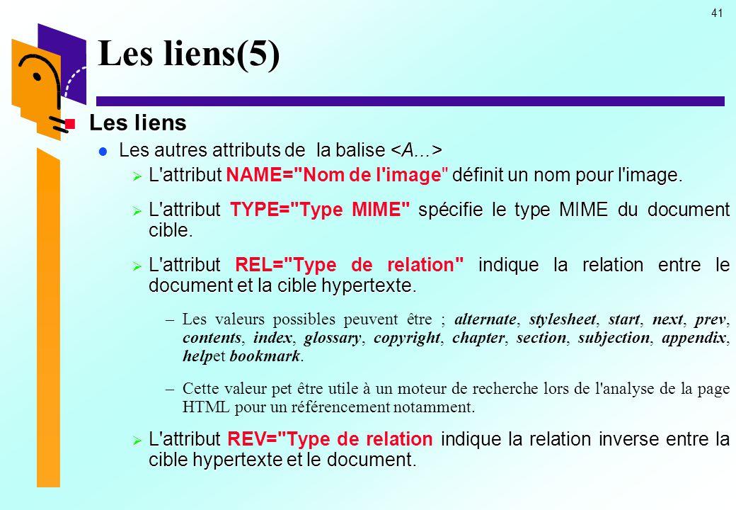 Les liens(5) Les liens Les autres attributs de la balise <A...>