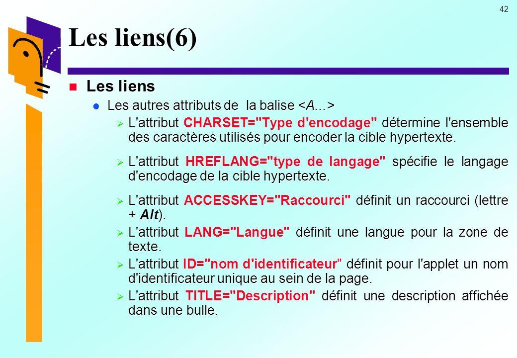 Les liens(6) Les liens Les autres attributs de la balise <A...>