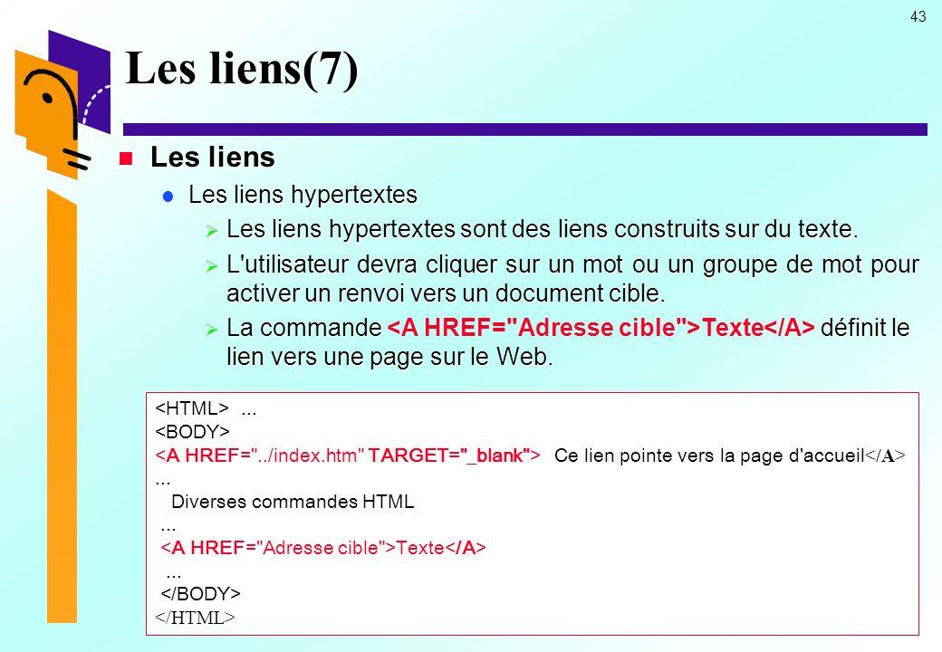 Les liens(7) Les liens Les liens hypertextes