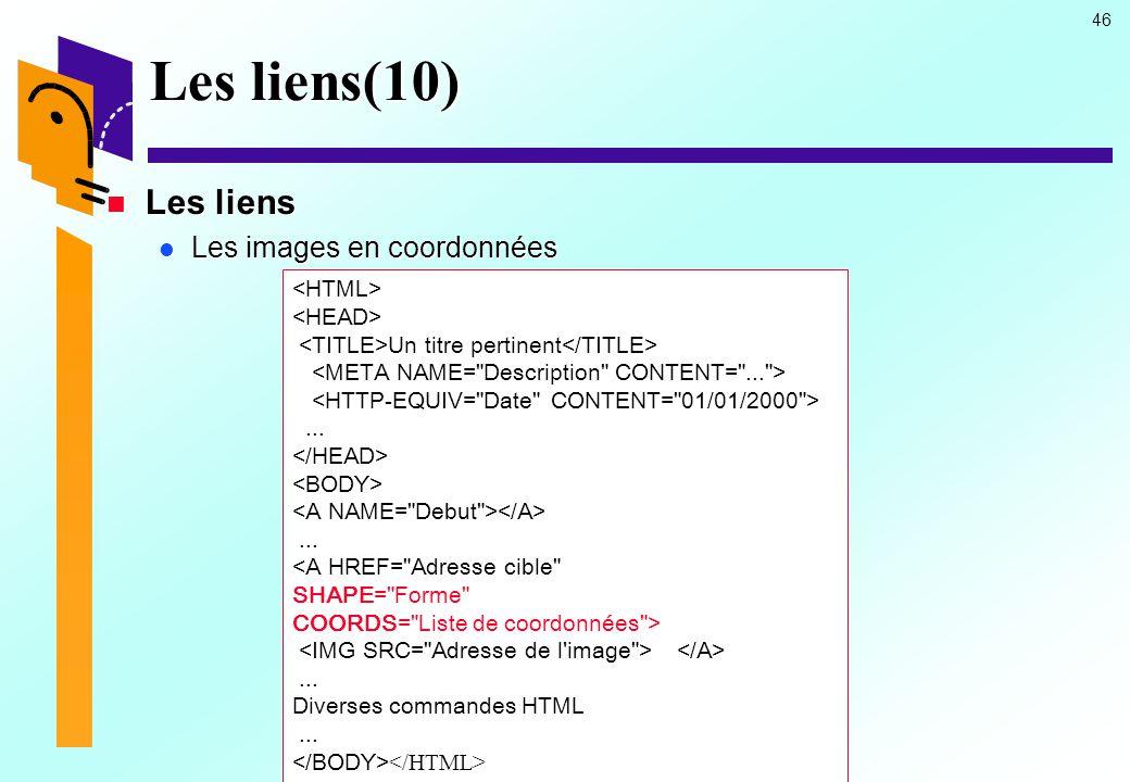Les liens(10) Les liens Les images en coordonnées <HTML>