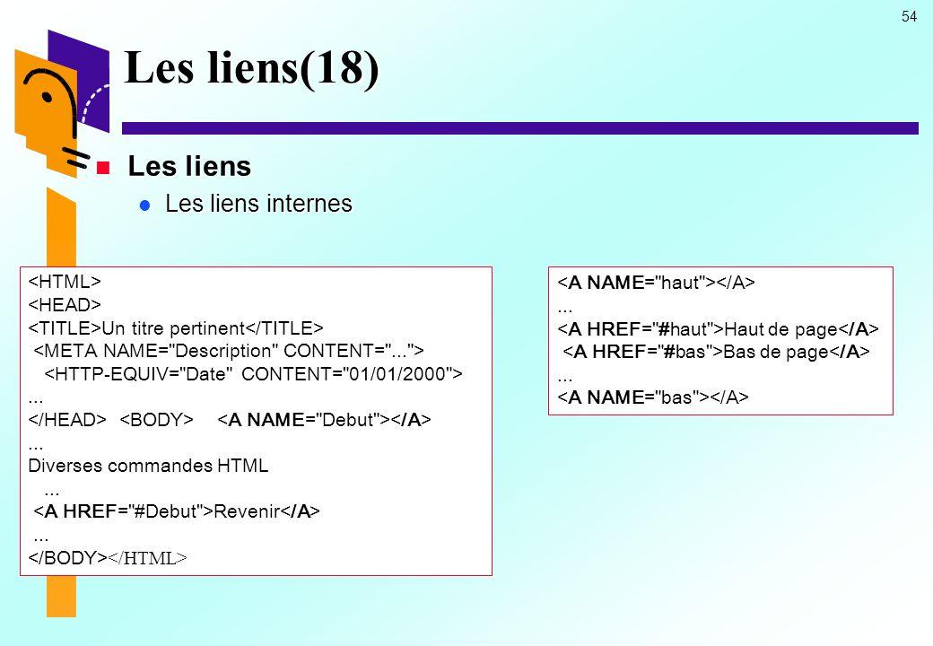 Les liens(18) Les liens Les liens internes <HTML>