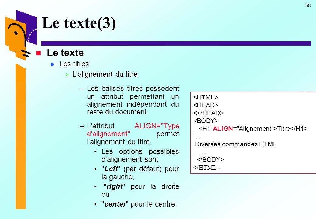 Le texte(3) Le texte Les titres L alignement du titre