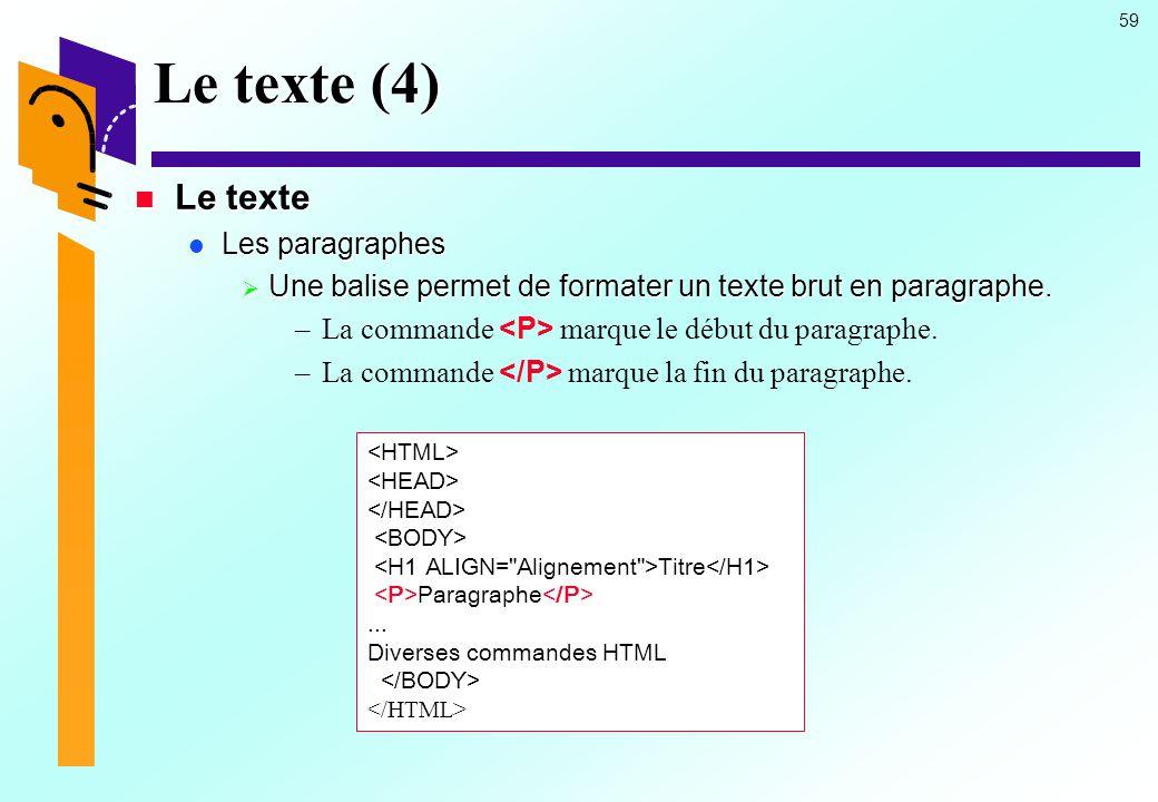 Le texte (4) Le texte Les paragraphes