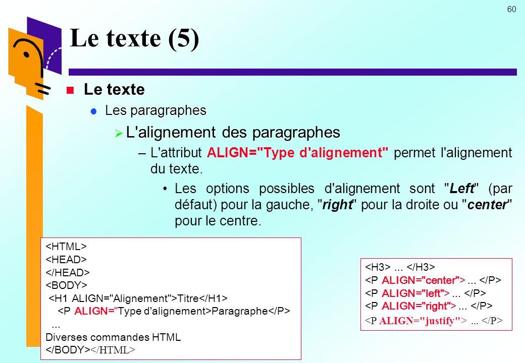 Le texte (5) Le texte L alignement des paragraphes Les paragraphes