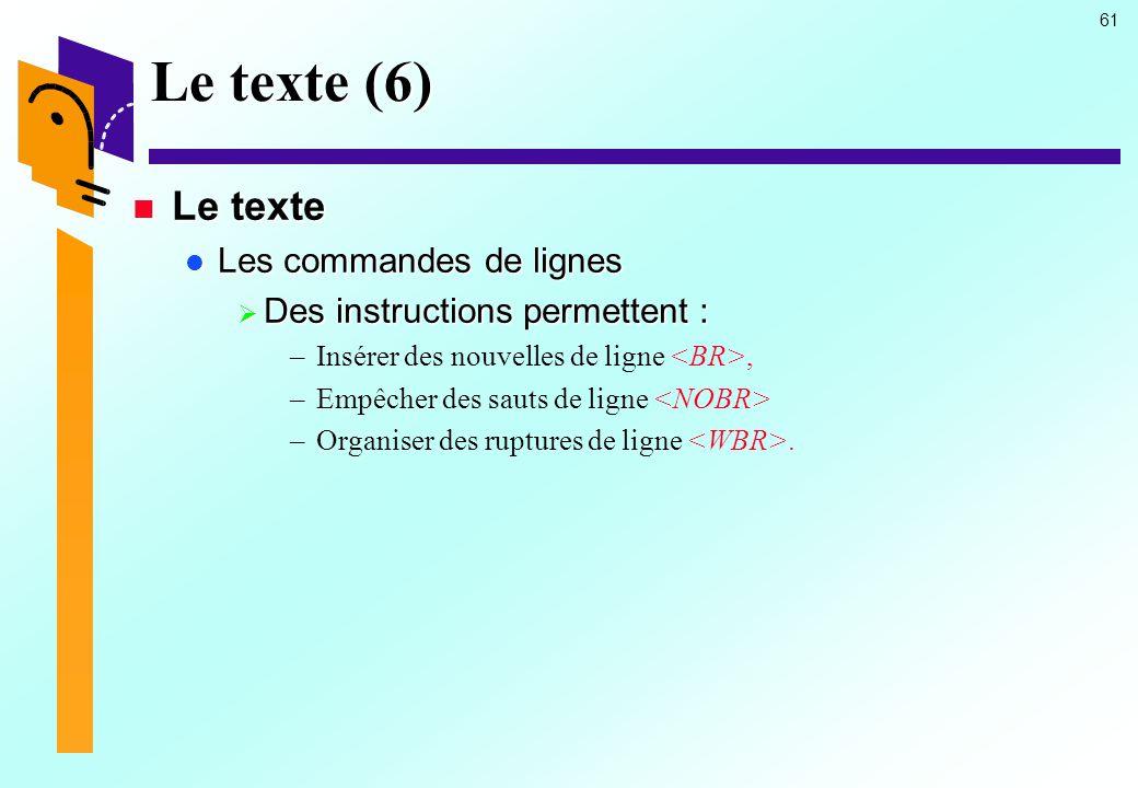 Le texte (6) Le texte Les commandes de lignes