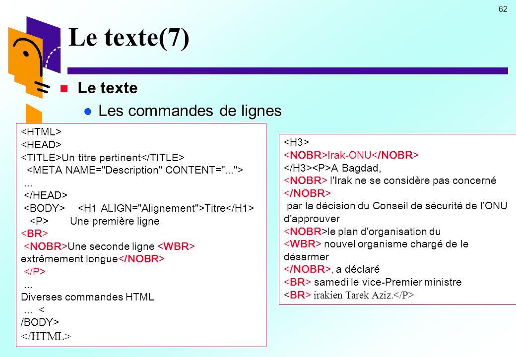 Le texte(7) Le texte Les commandes de lignes </HTML>