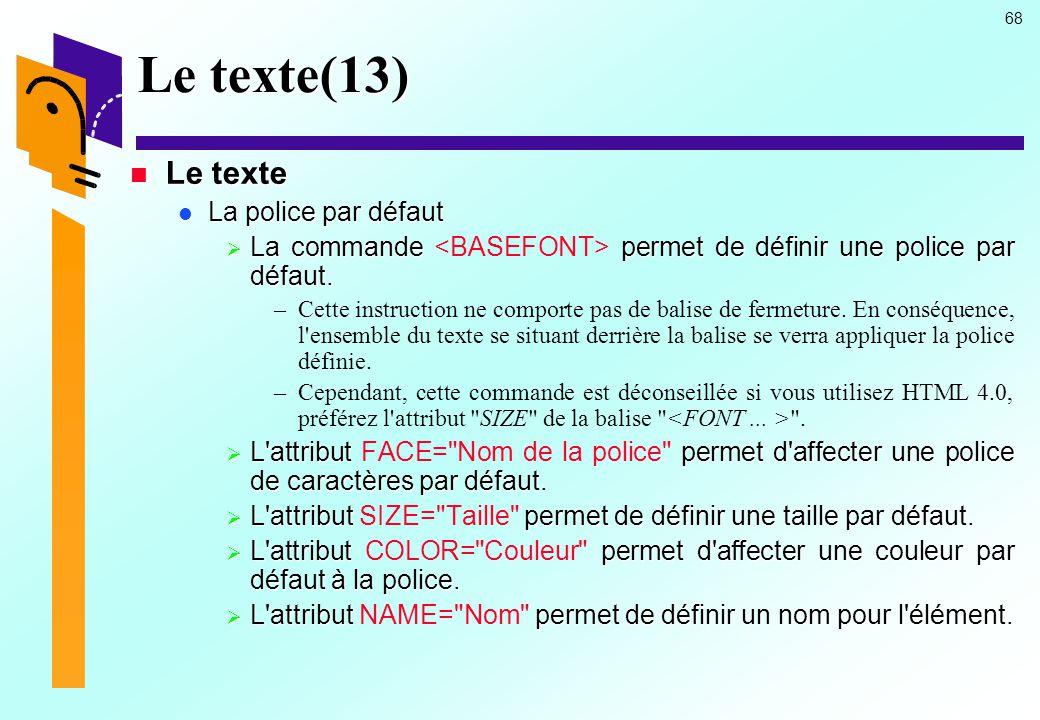 Le texte(13) Le texte La police par défaut