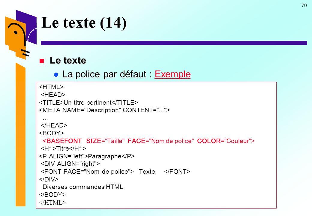 Le texte (14) Le texte La police par défaut : Exemple <HTML>
