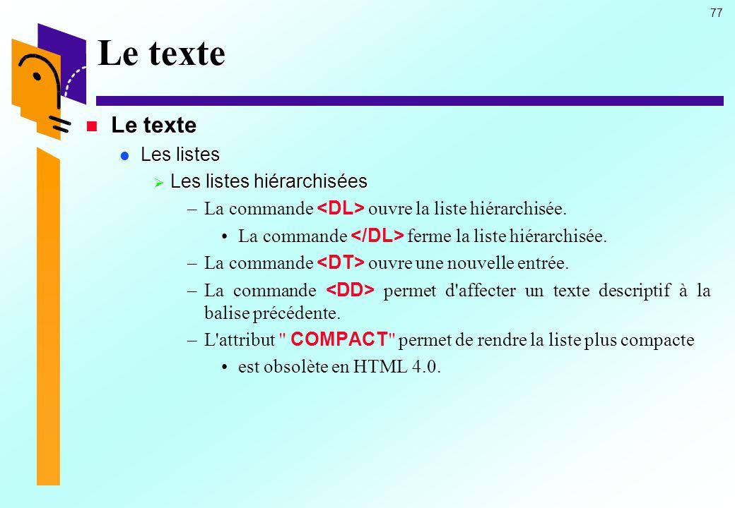 Le texte Le texte Les listes Les listes hiérarchisées