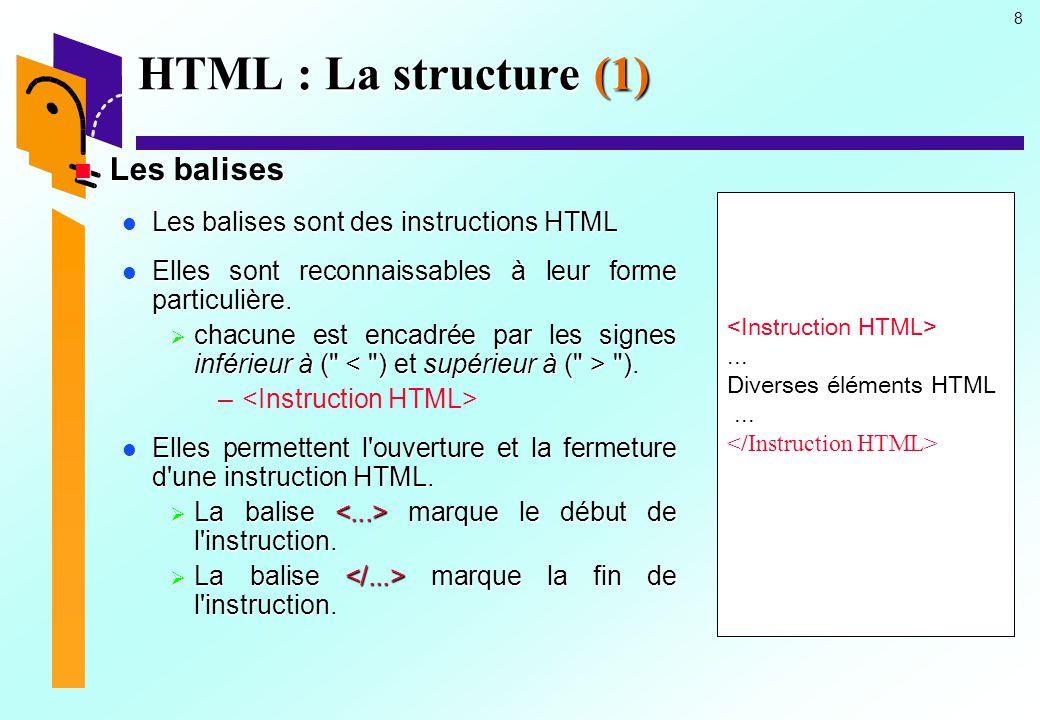 HTML : La structure (1) Les balises