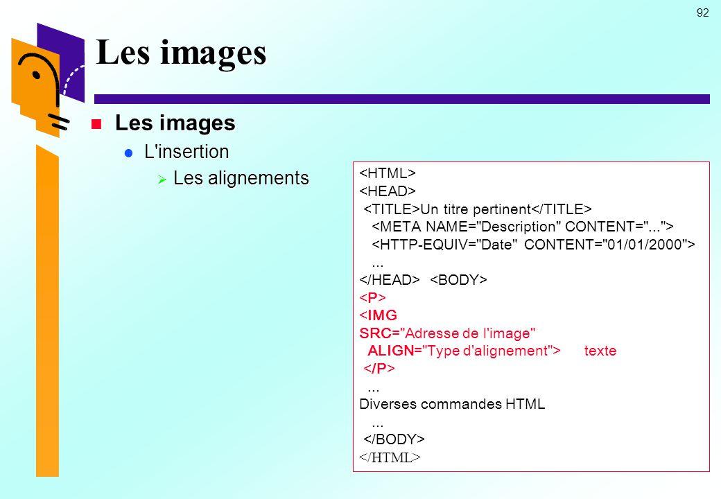 Les images Les images L insertion Les alignements <HTML>