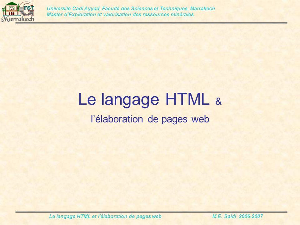 Le langage HTML & l'élaboration de pages web