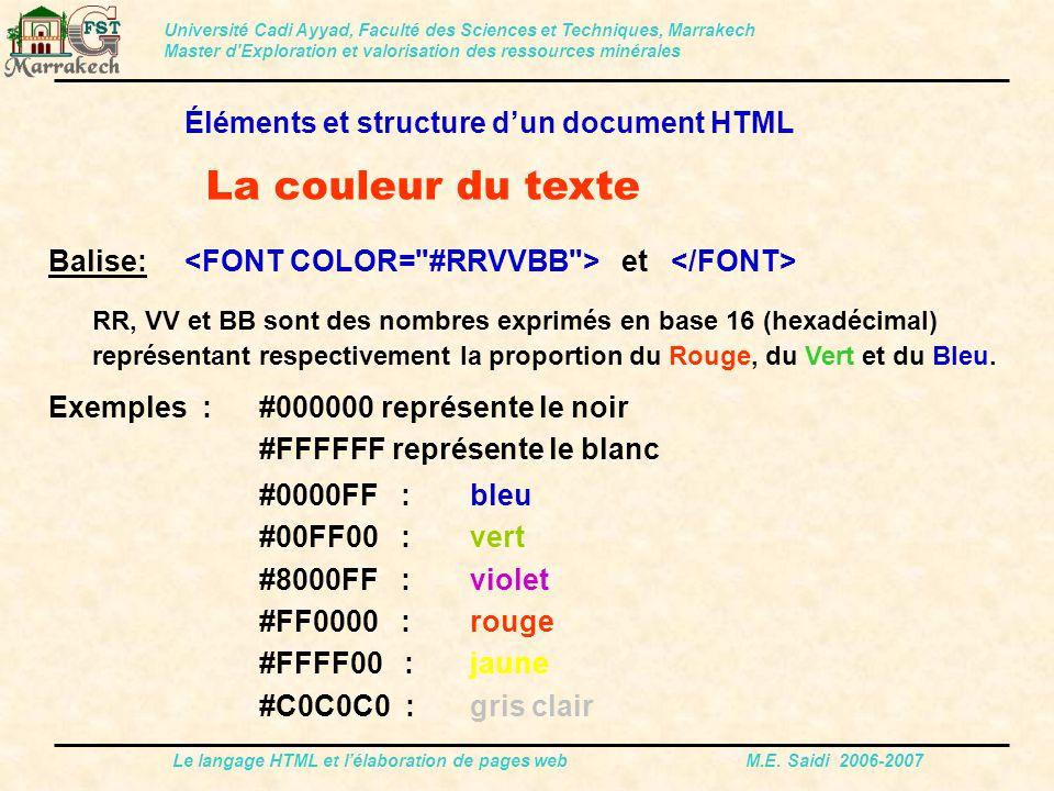 La couleur du texte Éléments et structure d'un document HTML