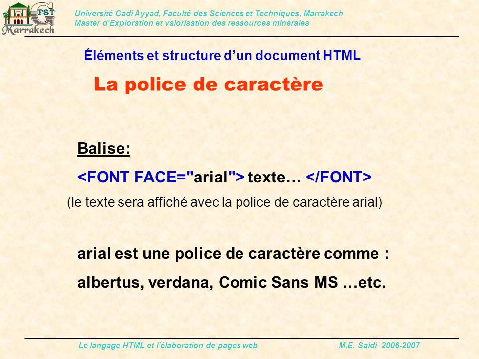La police de caractère Balise: